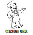 Coloring book with funny cook or chef vector image
