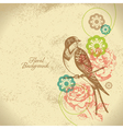 Retro floral background with bird vector image vector image