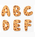 Alphabet on cookies design vector image