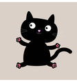 Cartoon black sitting cat Funny collection vector image