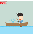 Cartoon business man rowing a boat - - EPS1 vector image