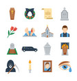 funeral icon set in a flat style vector image