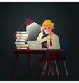 hard working business man night in office cartoon vector image