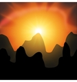 red sunset in the mountains on a black background vector image