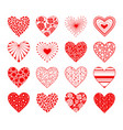 valentine day hearts set vector image