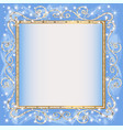 frame blue background with goldenen sample vector image vector image