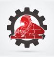 welding with sparks welder working on big gear vector image