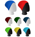 Warm knitted hat on mannequin head template vector image vector image