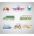 flat retro color stickers - set six vector image
