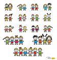 Set of cute happy cartoon kids vector image