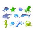 set of flat icons of aquatic animals vector image