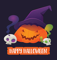 Pumpkin Lantern and Skull for Halloween vector image