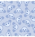 Seamless kawaii cartoon pattern with cute spiders vector image