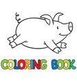Little pig coloring book vector image