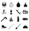 Camping simple icons vector image