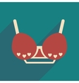 Flat icon with long shadow female bra vector image