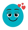 blue cartoon face with heart icon graphic vector image