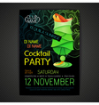Disco cocktail party poster3D cocktail design vector image