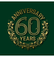 Golden emblem of sixtieth years anniversary vector image