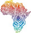 Map of Africa in rainbow zebra camouflage vector image