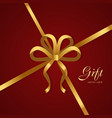 gift golden narrow ribbon bow with four petals vector image