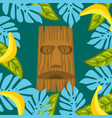 tiki mask and palm leaves frame background vector image