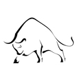 Black silhouette of a strong wild bull vector image vector image