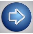 round blue right arrow button with paper cut image vector image