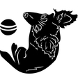 Cute dog with a ball black stencil first variant vector image