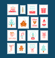 Winter holidays decorative post stamps set vector image vector image