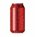 Realistic red aluminum can with drops vector image