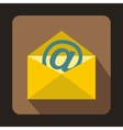 Yellow envelope with email sign icon flat style vector image