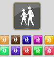 crosswalk icon sign Set with eleven colored vector image