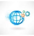 Globe mechanism grunge icon vector image
