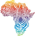 Map of Africa in rainbow zebra camouflage vector image