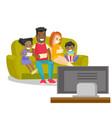 multiracial family watching television at home vector image