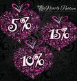 Pink heart pattern on black backround vector image