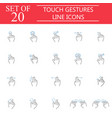 touch gestures line icon set hand and finger sign vector image