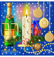 festive background with candle ball and gift vector image vector image