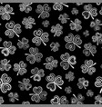 seamless pattern with white clover on black vector image