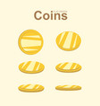 Golden coin in different position gold money vector image