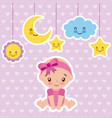 cute baby girl sitting with cartoon cloud star and vector image