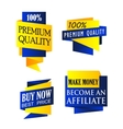 Blue and yellow origami banners vector image