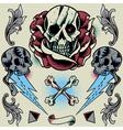 Skull Rose Thunder Pyramid Ribbon Bone Cross vector image