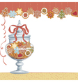 Christmas cookies in glass vase vector image