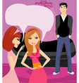 girls gossiping about the handsome boy vector image