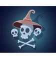 halloween with skulls crossbones witch hat vector image