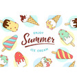 ice cream icons pattern with text enjoy summer vector image