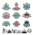 Labels for bakery cafe pizzeria vector image