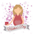 mothers day mom with flower and heart invitation vector image